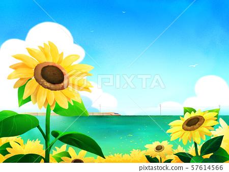 Beautiful nature landscape in summer season vector illustration 010 57614566