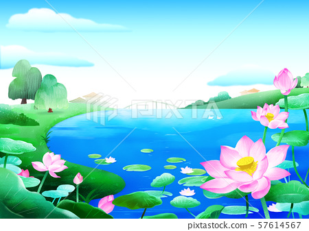 Beautiful nature landscape in summer season vector illustration 011 57614567