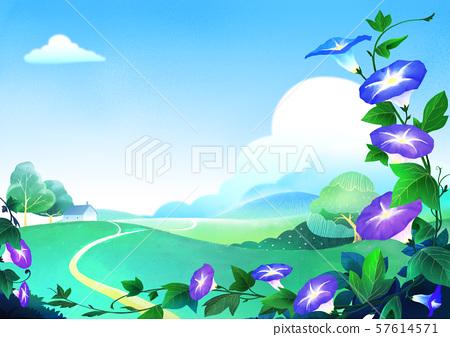 Beautiful nature landscape in summer season vector illustration 009 57614571