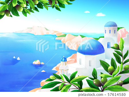 Beautiful nature landscape in summer season vector illustration 001 57614580