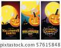 Set of three Halloween banners. illustrator Vector Eps 10. 57615848