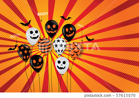 Halloween Ghost Balloons Scary air balloons And bat. 57615870