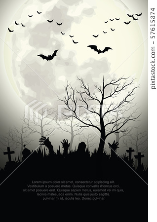 Zombie hands rising in dark Halloween night  Spooky forest with full moon and grave. 57615874