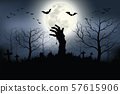 Zombie hands rising in dark Halloween night  Spooky forest with full moon and grave. 57615906