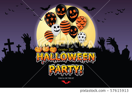 Happy Halloween festive abstract background, Scary air balloons, moon. Holiday party invitation. 57615913