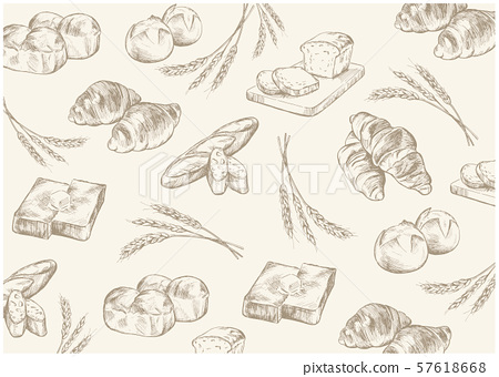 Hand drawn illustration material: bread, bakery set, background 57618668