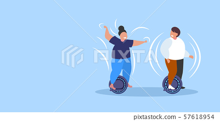 fat obese man woman riding self balancing scooter couple standing on electric gyroscooter personal 57618954