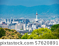 Kyoto Tower and the streets of Kyoto 57620891