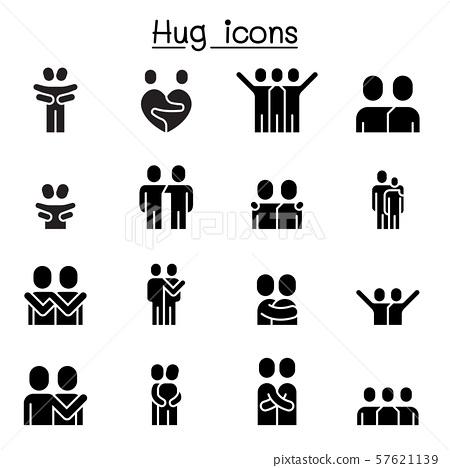 Lover, hug, friendship, relationship icon set 57621139