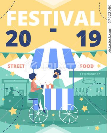 Festival of Street Food Flat Vector Ad Leaflet 57622066