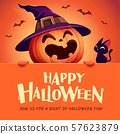 Happy Halloween! Jack O Lantern pumpkin witch hat. 57623879