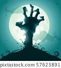 Zombie hand on full moon. 57623891