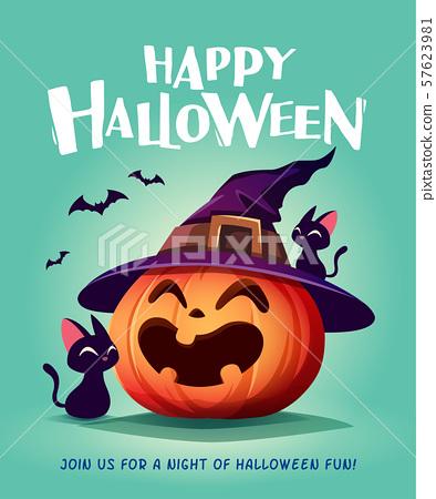 Happy Halloween. Halloween pumpkin. Black Cat and Jack O Lantern Pumpkin with witch hat. 57623981
