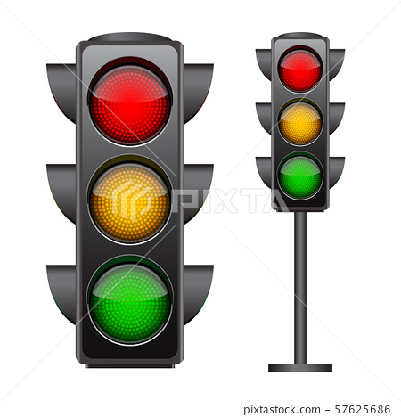 Traffic lights with all three colors on. 57625686