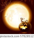 Halloween pumpkin under the moonlight. 57628512