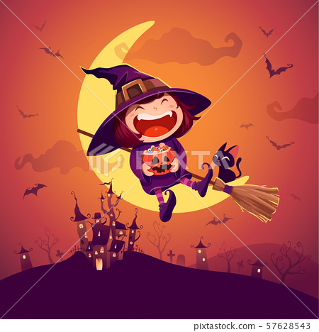 Halloween little witch. Girl kid in Halloween costume sits on the moon. 57628543