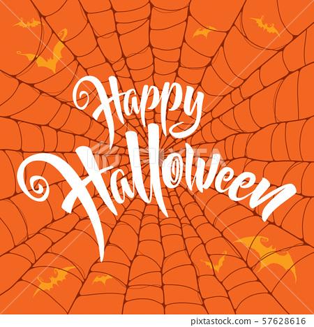 Happy Halloween vector lettering. Spooky spider web background. 57628616