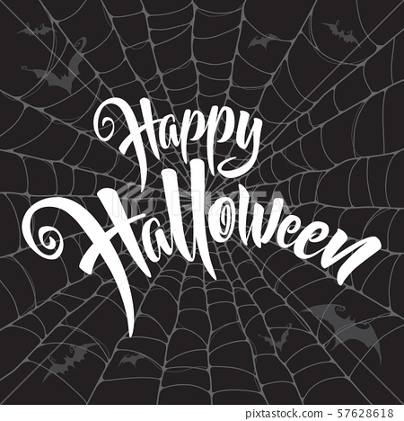 Happy Halloween vector lettering. Spooky spider web background. 57628618