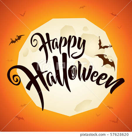 Happy Halloween vector lettering with full moon. 57628620