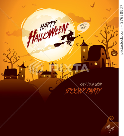 Halloween design with wide copy space. 57628937