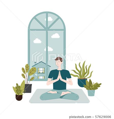Cartoon Man Doing Meditation Sitting On Yoga Stock Illustration 57629006 Pixta