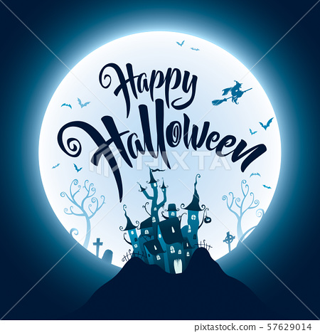 Happy Halloween with haunted castle on the dark hill. 57629014