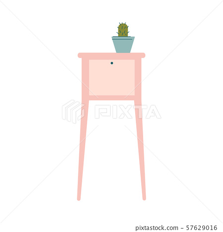 Cute cartoon potted cactus on pink modern side table, flat vector illustration 57629016