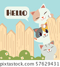 The group of cute cat garps with a wooden fence and they say hello. The cat and friend on the fence. The bush have a white cute flower. The character of cute cat in flat vector style. 57629431