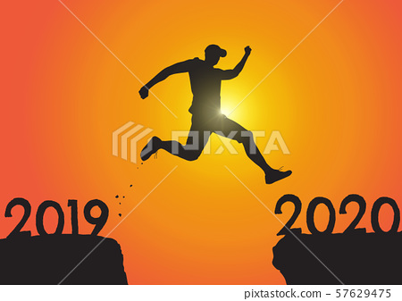 Silhouette of man jumping from 2019 to 2020 on sunrise background, successful new year concept  57629475