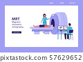 MRI machine - flat cartoon landing page banner with people in hospital 57629652