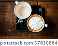 Set of hot espresso coffee include tea and sugar on table background 57630864