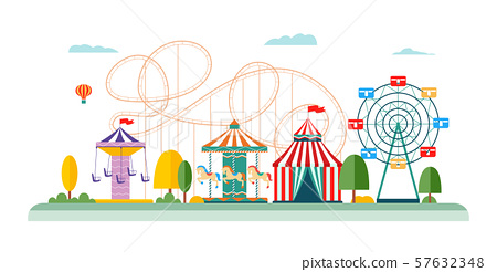 Amusement park attractions and rides vector flat illustrations isolated on white. 57632348