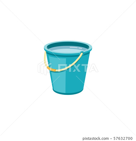 Plastic blue bucket with water for household cleaning and home washing. 57632700