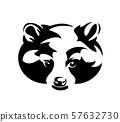 raccoon animal en face head black vector portrait 57632730