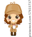 Kid Girl Detective Costume Illustration 57633737