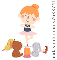 Kid Girl Dance Toys Audience Illustration 57633741