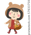 Kid Girl Autumn Collect Leaves Illustration 57633750