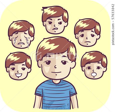Kid Boy Emotional Swing Illustration 57633842