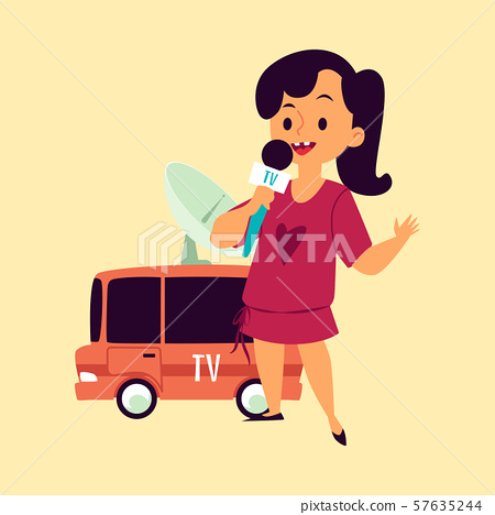 Girl tv reporter or journalist with microphone cartoon flat vector illustration. 57635244
