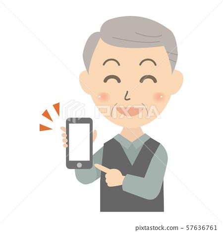 스마트 폰을 보여주는 시니어 남자 57636761