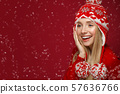 Beautiful blonde girl in a New Year's image in warm hat and sweater. Beauty face with festive makeup 57636766