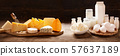 various types of dairy products on rustic wooden 57637189