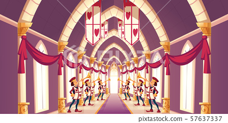 Solemn trumpeters playing march cartoon vector 57637337