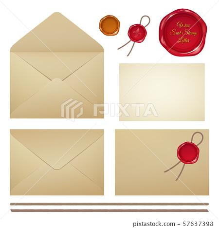 오래된 봉투 및 씰링 왁스 세트 _ 封蝋 일러스트 57637398