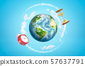 3d rendering of colored earth globe with red alarm clock and sand glass on blue sky background 57637791