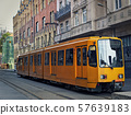 Tram in Budapest at the starting tram station 57639183