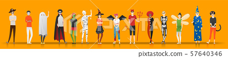 Happy Halloween , group of teens in Halloween costume concept isolated on orange background 57640346