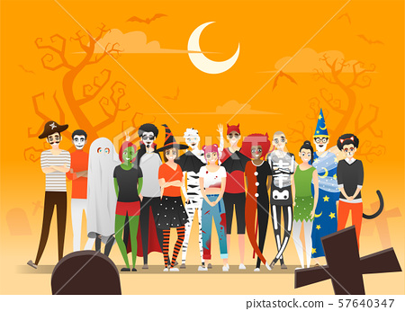 Happy Halloween , group of teens in Halloween costume concept standing together on graveyard background 57640347