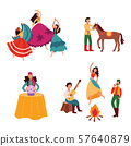 Gypsies or Romani people set of flat vector illustrations isolated on background. 57640879