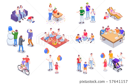 Isometric Family Holidays Collection 57641157